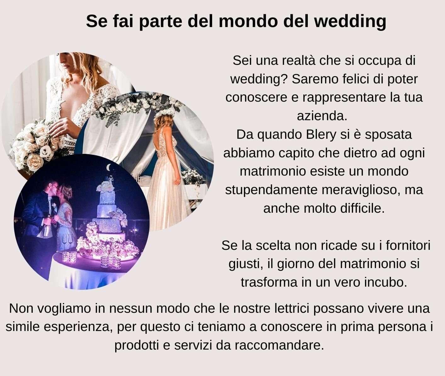 pubblicizza la tua attività di matrimoni, prodotti e servizi